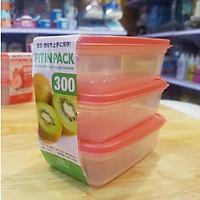 Bộ 3 hộp nhựa 300ml nắp dẻo nội địa Nhật
