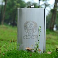 Bình INOX Đựng Rượu CCCP Truyền Thống Dung Tích 2L   Tặng Kèm Gáo Dừa Múc Rượu