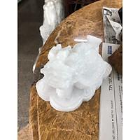 Tượng Long Quy ( Rùa đầu Rồng ) cõng gậy như ý phong thủy đá cẩm thạch trắng - Dài 16cm