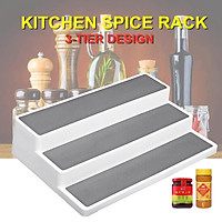 3 Tier Stair Step Cabinet Kitchen Spice Holder Rack Jar Storage Organizer Shelf