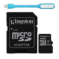 Thẻ Nhớ Micro SDHC Kingston 16GB Class 10 UHS-I SDC10G2/16GBFR (Có Adapter) - Hàng chính hãng + Tặng đèn Led