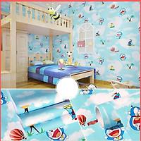 Giấy dán tường doremon bầu trời xanh có keo sẵn khổ 45cm, giấy decal dán tường doremon phòng ngủ cho bé -