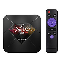 Đầu Thu Phát Tín Hiệu Box Allwinner H6 UHD 4K Cho Tivi Thông Minh R-TV Box X10 Plus AnDroid 9.0 Giải Mã Hình Ảnh 6k 4Gb / 64Gb 2.4g WiFi 100m