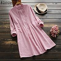ZANZEA Women Casual Plus Size Long Sleeve Stripe Sundress Office OL Work Shirt Dress