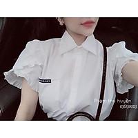 áo sơ mi trắng tay bồng cộc tay chất mềm mại