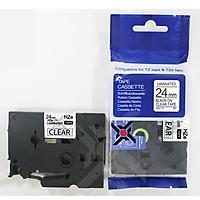 Nhãn in tiêu chuẩn Hze-151 khổ 24mm*8m, chữ đen nền trong suốt, tương thích dùng cho máy in nhãn P-Touch Brother