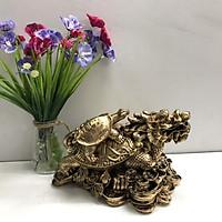 Tượng Đá Long Quy Phong Thủy - Màu Nhũ Vàng - Size Lớn