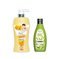 Sữa tắm thảo dược Vitamin E nước hoa 2 Plus Thebol 925g + Dầu gội dược liệu sạch hữu cơ giảm rụng tóc chiết xuất tinh dầu dừa Thebol 190g