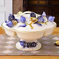 Khay đựng mứt và bánh kẹo ngày tết bằng sứ cao cấp họa tiết hoa văn nôi phong cách tân cổ điển sang trọng, trẻ trung, thời thượng