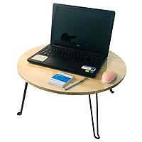 Bàn học laptop xếp gọn tiện lợi mặt tròn 58cm - Tặng kèm sổ tay A7