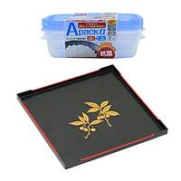 Combo Khay đựng cốc chén màu đen sơn mài + Set 2 hộp đựng thực phẩm chịu nhiệt lò vi sóng Apack ∝ 400ml - Nội địa Nhật Bản