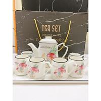 Bộ ấm chén kèm khay sứ pha trà cà phê cây nấm đỏ lá kim