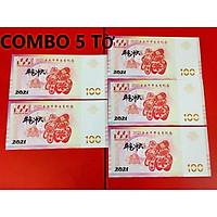 (5 tờ) - Tiền in hình trâu 100 Macao lưu niệm lì xì năm mới - tặng kèm bao lì xì