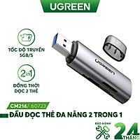 Đầu đọc thẻ USB 3.0 UGREEN 60723 đọc thẻ đa năng SD/ TF - Tốc độ truyền 5GB/s - Hàng nhập khẩu chính hãng