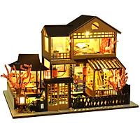 Mô hình nhà búp bê lắp ghép bằng gỗ Mẫu Sakura villa tặng kèm Cót Nhạc ,MICA chắn bụi, dụng cụ lắp ghép