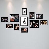 Bộ Khung Ảnh Treo Tường Trang Trí Lớp Học Âm Nhạc, Piano, Organ, Guitar Tặng Kèm bộ ảnh như hình mẫu, đinh treo tranh và sơ đồ treo PGC279