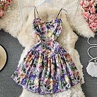 Váy hai dây hoa tím đuôi cá vải form đứng thiết kế xinh xắn