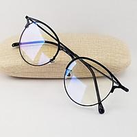 Gọng kính nữ mắt cận tròn màu bạc, đen, vàng chất liệu kim loại SA9209. Tròng kính giả cận 0 độ chống ánh sáng xanh, chống tia UV