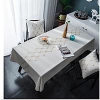 Khăn trải bàn trắng họa tiết hình thoi