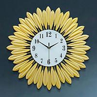 Đồng hồ treo tường nghệ thuật lông vũ kim loại kết tròn màu vàng óng ánh - ĐK 50 cm