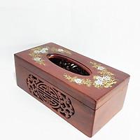 Hộp trang trí - Hộp đựng giấy ăn khảm hoa văn gỗ Hương THREE WOOD