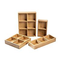 Khay đựng mứt tết bằng gỗ tre cao cấp, nhiều ngăn