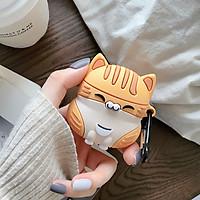Ốp - Bao dành cho airpods 1/2/pro hình mèo vàng ,xám chất silicon chống bẩn dày dặn