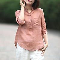 áo sơ mi nữ form rộng,tay lỡ dáng xuông che khuyết điểm cực tốt full size đến 90kg(A25)