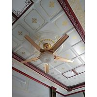 Quạt trần có đèn trao đèn bằng thủy tinh trang trí cho phòng khách, với phong khách cổ điển và hiện đại kết hợp