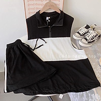 Sét Bộ đồ áo Tanktop polo phối màu Nam nữ Unisex Kèm quần Shorts đùi thể thao(3 màu)