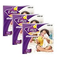 Combo 3 gói khăn giấy vuông Emos cao cấp ( 100 tờ / gói )
