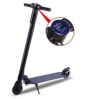 Xe scooter điện bánh 5,5 inch đồng hồ led 1 lần sạc đi 10km, động cơ không chổi than nam châm vĩnh cửu, có thể gấp gọn mang đi, phanh đôi, đèn pha led, tay chống trượt, mà hình LCD model mới
