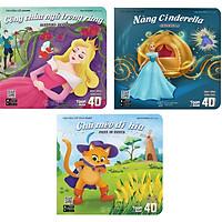 """Combo Bộ Sách 3 Cuốn Hoạt Hình Song Ngữ 4D """" Lâu Đài Kỳ Bí"""": Nàng Cinderella - Chú Mèo Đi Hia - Công Chúa Ngủ Trong Rừng"""