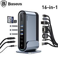Hub chuyển đổi đa năng 16 trong 1 thương hiệu Baseus CAHUB-BG0G  (Type C*4 / HDMI / VGA / RJ-45 Gigabit / SD,TF Card / USB3.0*3/ USB2.0*2/ Audio AUX 3.5mm/ DC 12V) - Hàng Nhập Khẩu