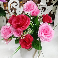 Hoa giả Chùm hoa Hồng ngọc trai màu Hồng đỏ trang trí
