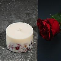 Nến sáp đậu nành, hương hoa hồng và cánh hồng khô