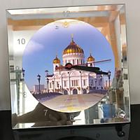 Đồng hồ thủy tinh vuông 20x20 in hình Cathedral Of Christ the saviour (31) . Đồng hồ thủy tinh để bàn trang trí đẹp chủ đề tôn giáo