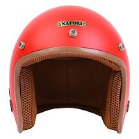 Mũ bảo hiểm phượt đỏ lót nâu thời trang