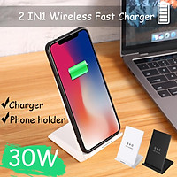 30W Double coil Qi Wireless Fast Charger Vertical Quick Charging Bracket High Power Docking Stand For mate30 pro/mi9 pro