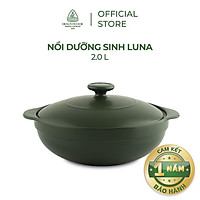 Nồi sứ dưỡng sinh Minh Long - Luna 2.0 L + nắp dùng cho bếp gas, bếp hồng ngoại