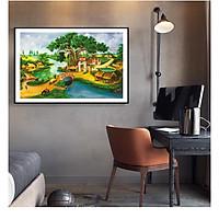 Tranh Sơn dầu Phong cảnh Làng quê Việt Nam nghệ thuật. (Bộ 1 bức), Khung hợp nhôm chống ẩm, bền, đẹp, nhiều kích thước