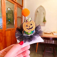 Kẹp tóc Halloween có đèn chớp nháy hình nón phù thủy cá tính phối voan họa tiết ma quái sành điệu – HLW001