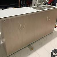 Tủ bếp nhựa đài loan có bồn và dán gạch 145x80(TPHCM)
