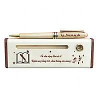 Bút - Hộp bút gỗ (Ơn cha nặng lắm ai ơi) - WG1