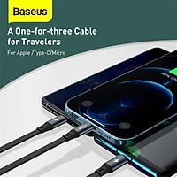 Baseus 3 Trong 1 Cổng USB C Cho iPhone 12X11 Pro Max Sạc Có Thể Thu Vào Loại C Cho samsung S20 Xiaomi Micro USB