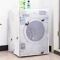 Vỏ bọc máy giặt cửa ngang, cửa trước bằng PVC chống nước, chống bụi (Hình hươu và rừng cây)