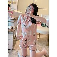 Đồ mặc nhà pijama lụa cao cấp bộ ngắn dễ thương màu hồng kèm họa tiết