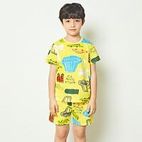 Bộ đồ ngắn tay mặc nhà cotton giấy cho bé trai U3013 - Unifriend Hàn Quốc, Cotton Organic