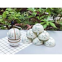 Bộ 10 bát cơm men kem Bát Tràng cao cấp vẽ đào xanh