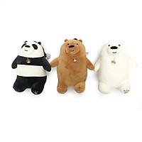 Bộ 3 chú gấu nhồi bông We Bare Bears mềm mịn cho bé